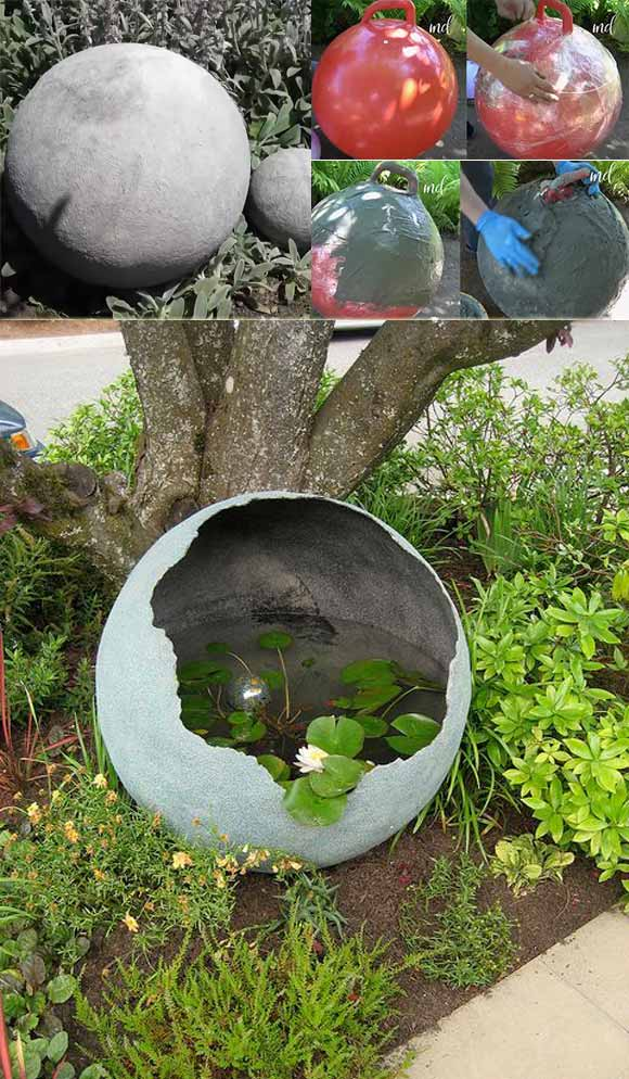Cement Globe Water Feature for Garden